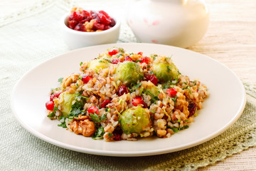 Warm buckwheat salad with roasted brussel sprouts