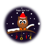 Happy new year button with owl sitting on the branch
