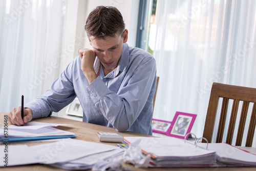 Man can't pay his bills. Worried about finances