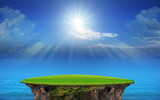 panorama of blue sky and sun shining