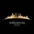 Manchester England city skyline silhouette black background