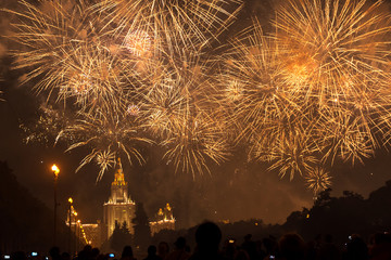 Fireworks over the main building of Moscow State University