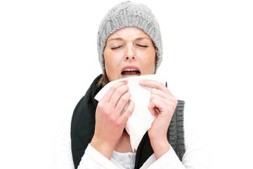 junge Frau muß niesen