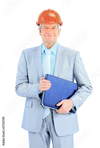 Engineer at the age of. Isolated on a white background.