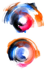 Set of colorful circular watercolor shapes