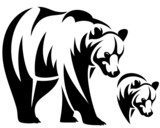 walking bear black and white outline emblem