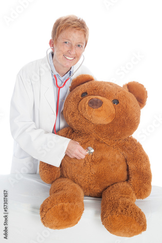 female doctor with teddy