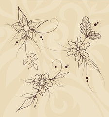 Vector Outline Flowers on Abstract Romantic Background
