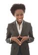 Junge afrikanische Business Frau isoliert und lachend