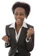 Jubelnde glückliche afrikanische Geschäftsfrau isoliert