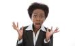 Schockierte Frau - Angstschrei - Panik - Afrikanerin