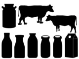 Cow silhouette and milk bottles