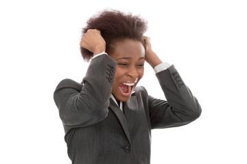 Schreiende afrikanische farbige Frau - Angst, Panik, Wut