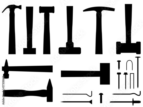 Hammers and nails set illustrated on white