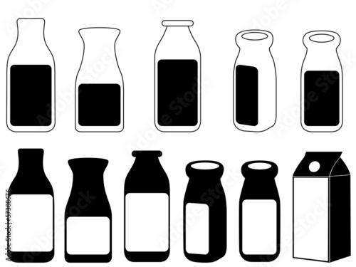 Milk bottles illustrated on white
