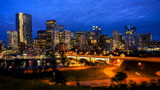Night shot of downtown Calgary, time lapse