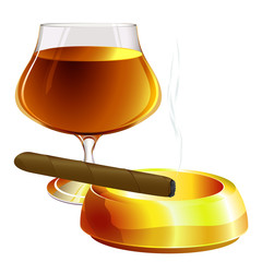 Cognac and cigar. Vector. No blends or gradient meshes used.