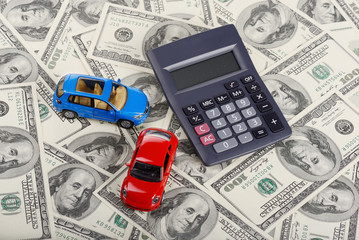 Car toys and calculator through dollars