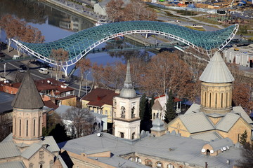 Tbilisi City View Sioni Cathedral and peace bridge