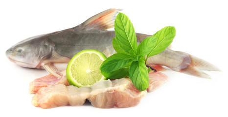 Rita fish of Southern Asia with mint and lemon