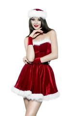 Beautiful young brunette woman - christmas portrait