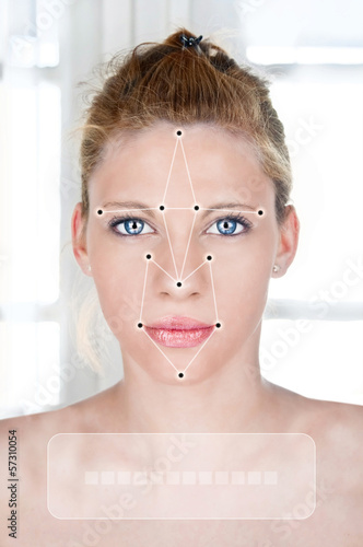 Young woman beauty portrait with face detection