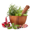 fresh flavoring herbs and spices in wooden mortar