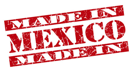 made in Mexico grunge red stencil font isolated sign