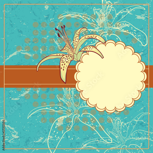 Vector Vintage Floral Frame With Blooming Lilly.