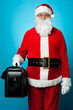 Santa holding brand new briefcase
