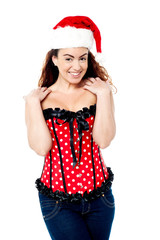 Sexy trendy woman wearing santa cap