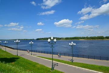 Volzhskaya Embankment in Rybinsk, the top view