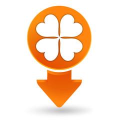 trèfle à quatre feuilles sur signet orange