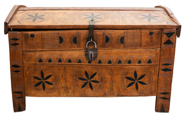 Old chest with lock isolated on white