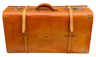 Old orange suitcase. Clipping path included.
