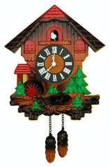 Old cuckoo clock. Clipping path included.