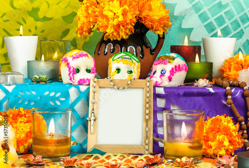 Mexican day of the dead altar with blank photo frame