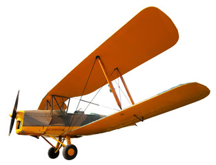 Ancient biplane isolated on white. Clipping path included.