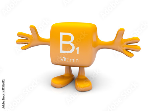 B1 vitamin symbol on yellow figure