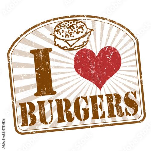 Fototapeta I love burgers stamp