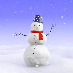 3d Simple worried snowman
