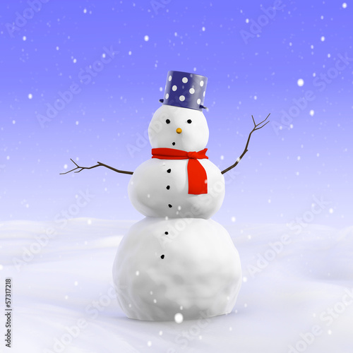 3d Simple worried snowman
