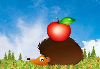 hedgehog with apple