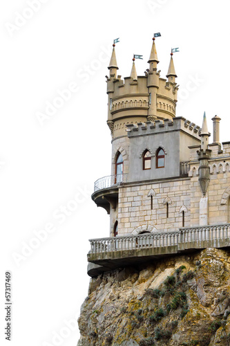 Medieval castle over white background. Swallow's Nest, Ukraine