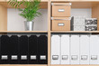 Shelves with boxes, folders and green plant - 57318062