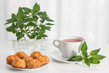 Tea, mint and tasty cookies