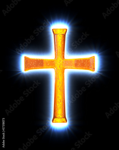 Glowing amber cross