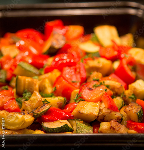 Pan of Cooked Vegetables