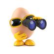 Egg looks through binoculars