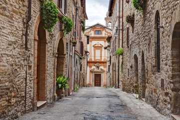 old alley in Trevi, Umbria, Italy